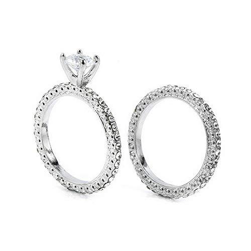 Wausa Chic White Sapphire Silver Ring Set Women Wedding Engagement Jewelry Gift Sz5-11 | Model RNG - 22323 | - Sherwood Gasket