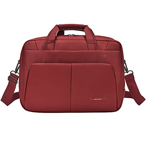 17.3 Inch Laptop Briefcase Computers Bags for Travel Business College Pure Color Simple Style Waterproof Satchel Shoulder Bag Multi-Functional Durable Stylish Handbag,Red - Satchel Style Case