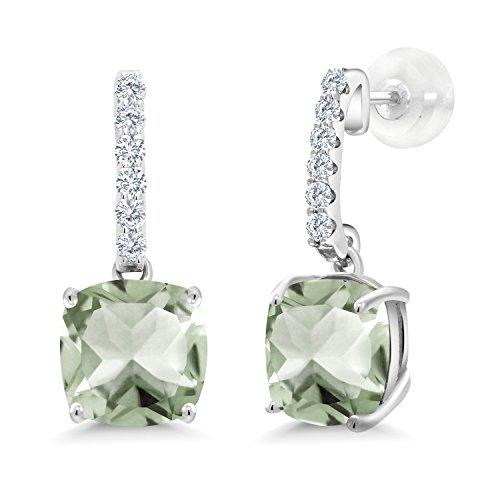 Gem Stone King 4.29 Ct Cushion Green Prasiolite I-J Lab Grown Diamond 10K White Gold Earrings
