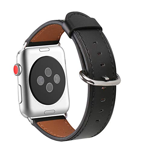 WFEAGL Compatible iWatch Band 38mm 40mm, Top Grain Leather Band Replacement Strap for iWatch Series 4,Series 3,Series 2,Series 1,Sport, Edition (38mm 40mm, Black Band+Silver Adapter)