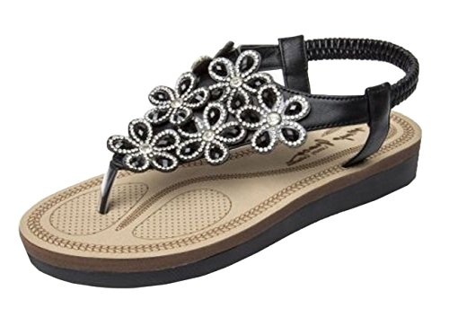 Shoes Summer Sandals Elastic Ladies E41 Black On Flower Slingback Diamante Platform Comfort Gladiator Slip Womens Wedge BRfxOvx