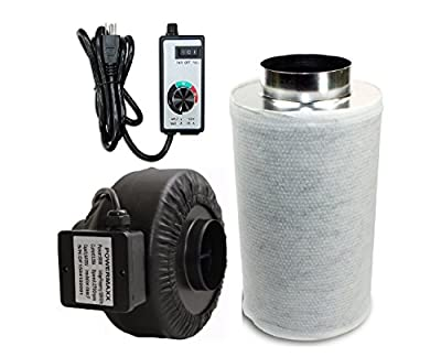 Powermaxx Premium Charcoal Carbon Filter and Inline Fan Combo with Speed Controller