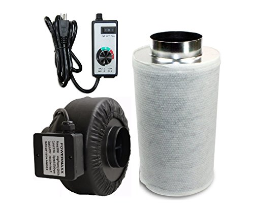 Powermaxx Premium Charcoal Carbon Filter and Inline Fan Combo with Speed Controller (4 IN) (Charcoal Inline Filter compare prices)