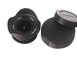 "Fotasy 8mmFishEye f/3.8 MFT Mount 4/3"" CCTV Lens for Micro 4/3 M4/3 MFT Camera (Black)"