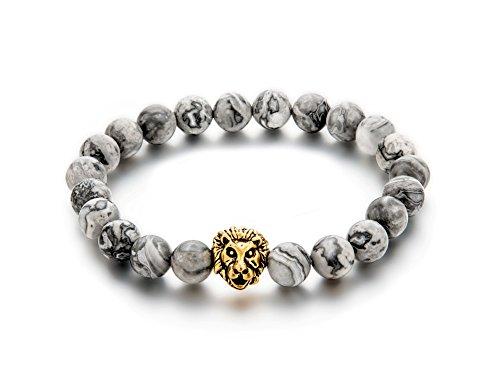 Bracelet Perles *8 mm Pierres de Marbre Naturel Gris avec tête de Lion Plaqué Or Jaune Vintage, Unisex