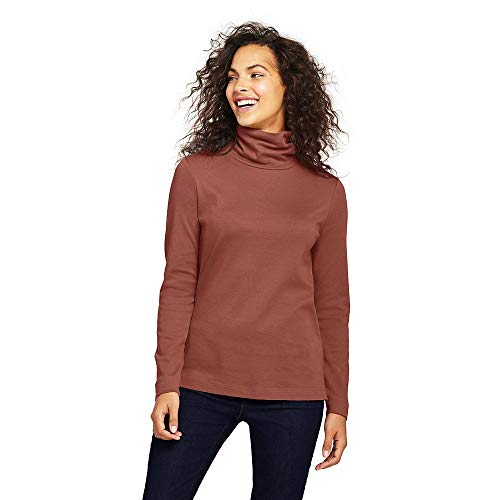 Ladies Interlock Mock Turtleneck (Lands' End Women's Supima Cotton Turtleneck, S, Cedar Wood)