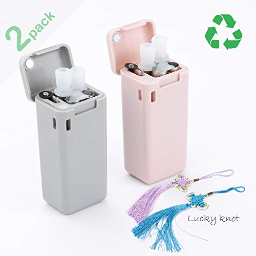 2-Pack Collapsible Straw, Stainless Steel Food-grade Silicone Healthy Hygeian, Portable with Hard Case Holder and Cleaning Brush, For Party, Travel, Household, Outdoor iBUY BEST(Grey&Pink)
