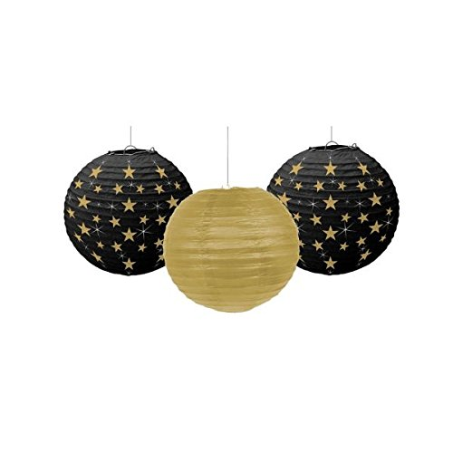 Amscan Black, Gold & Silver Hollywood Movie Themed Party Star Studded Round Lanterns Decorations, Paper, 9'', Pack of 3 Costume