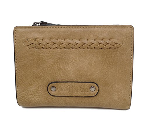 Simply Noelle Vegan Faux Leather Braided Small Ladies Snap Wallet (Java) by Simply Noelle