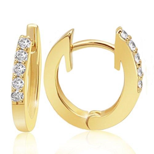 Goldmaid - Me O5322GG - Boucles d'Oreilles Créoles Femme - Or jaune 585/1000 (14 carats) 2.1 gr - Diamant