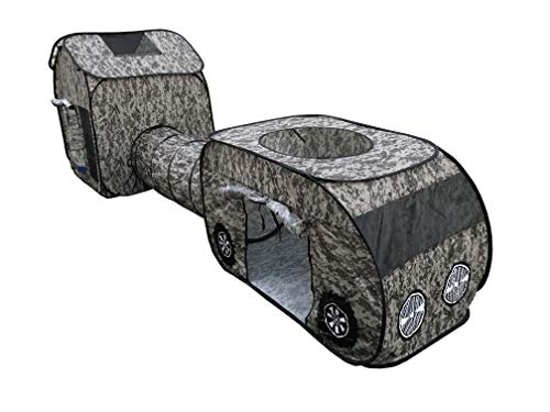 G3Elite Kids Camo Play Tent, Childs 3 Piece Vehicle Pop Up Indoor/Outdoor Foldable Camouflage Tunnel Playhouse Gift Set with Carry/Storage Bag - (Brown, Khaki & Green Digital Camo) + 1 Year Warranty