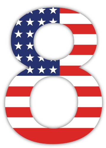 Number 8 Decal (8 Number 8 #8 # 8 Eight USA American flag sticker decal 4