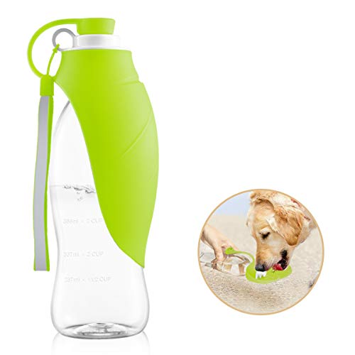 perpets Portable Dog Water Bottles,Reversible & Lightweight Travel Pet Water Dispenser with Expandable Silicone Flip-Up Leaf,Made of Food-Grade Silicone 20 OZ (Green) by perpets