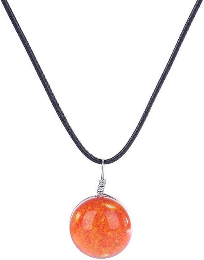 Luminoso collar de cielo estrellado,colgante de piedras preciosas hecho a mano de bola de cristal de doble cara para la joyería de la fiesta de Navidad de amigos y amantes