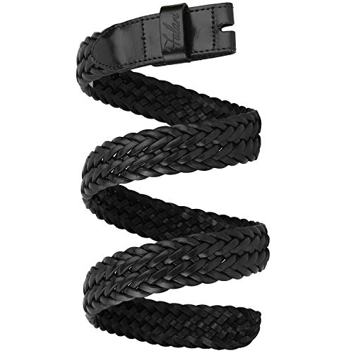 Falari Full Grain Braided Belt Strap Without Buckle 34mm Strap Fit 35mm Buckle 8007-BLK-M