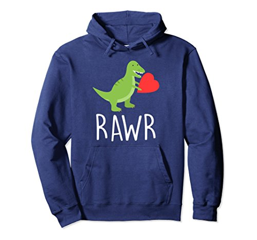 Unisex Love Hoodie Rawr Dinosaur Heart Men Women Mother's Father's 2XL Navy