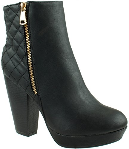 Quilted Bootie - Lucita Women's 077-011 Black Chunky Platform quilted Ankle Booties 7 D(M) US