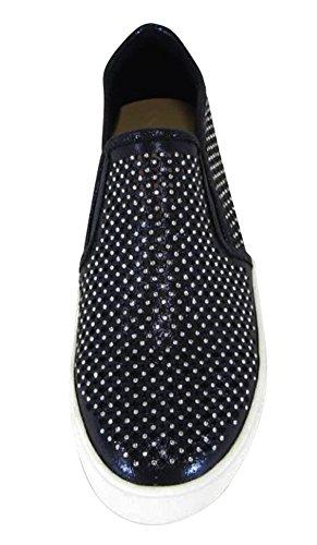 Cambridge Select Womens Closed Round Toe Perforated Geometric Cutout Glitter Crystal Rhinestone Slip-On Flatform Fashion Sneaker Midnight Blue Shimmer NSQfA