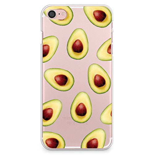 Cover iPhone 7 Case, CasesByLorraine Avocado Pattern Matte Transparent Case Fruits Plastic Hard Cover for Apple Cover iPhone 7 (A06)