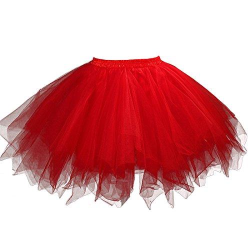Feoya - Jupe Tutu Adulte Femme Ballet Jupe en Tulle Courte Multi Couches Lger pour Fte Danse Spectacle Taille lastique Rouge