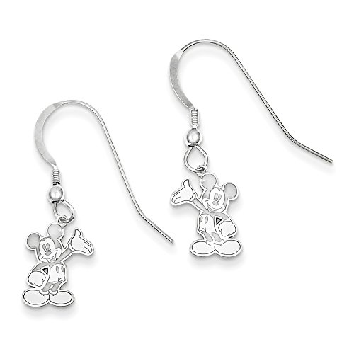 Mickey Dangle Wire Earrings - Sterling Silver Waving Mickey Mouse Dangle Wire Earrings from Roy Rose Jewelry Trademark and Licensed