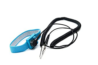 Esd Fabric Adjustable Wrist Strap Blue W 12 Cord Banana Plug 1 Meg Ohm Resistor Amp 4mm Snap
