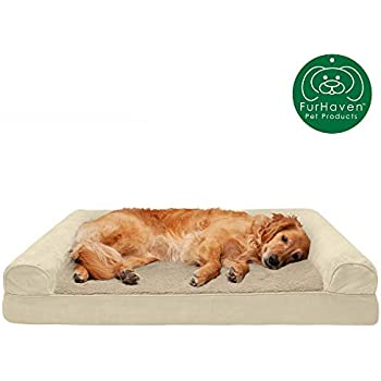 Furhaven Pet Dog Bed | Cooling Gel Memory Foam Ultra Plush Faux Fur & Suede Traditional Sofa-Style Living Room Couch Pet Bed w/ Removable Cover for Dogs & Cats, Clay, Jumbo