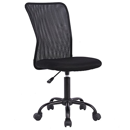 BestOffice Home Office Chair Desk Ergonomic Computer Executive Modern Student Task Adjustable Swivel High Back Wide Comfortable Mesh Stool with Metal Base for Man Women, Armless Black