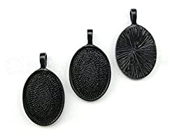 10 CleverDelights Oval Pendant Trays - 18x25mm - Dark Black Color – 18 x 25 mm