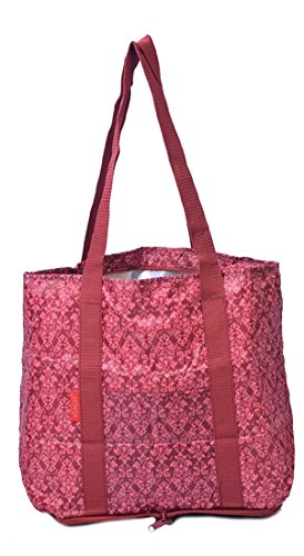 Red Sachi Compact Fold and Go 2-Piece Market Insulated Tote Bag Set