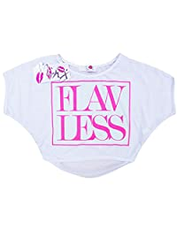 "Kids Girls New Season ""FLAWLESS"" Print Crop Top Stylish Fashion T Shirt Age 7-13"