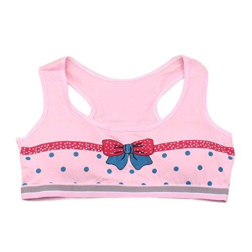 Kinghard Girls Printing Underwear Bra Vest Children Underclothes Sport Undies (Pink)