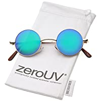 zeroUV - Gafas retro redondas para hombres, mujeres con lentes de color con espejo John Lennon Glasses (Gold /Blue-Green)