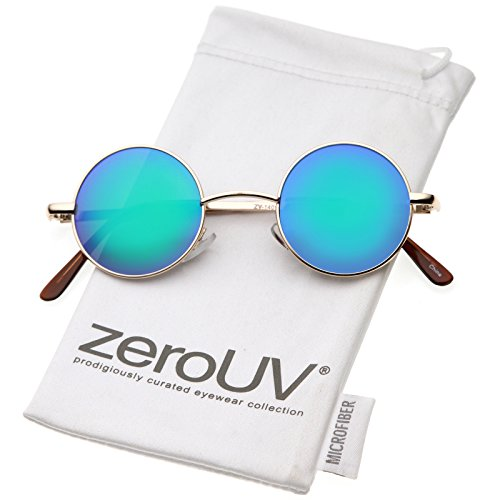 Blue And Gold Costumes - zeroUV - Retro Round Sunglasses for