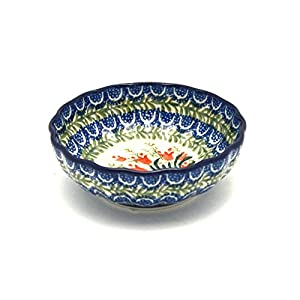 Polish Pottery Bowl–Small–Crimson Bells by Polish Pottery Shallow Scalloped Gallery