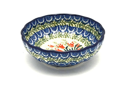 Polish Pottery Bowl - Shallow Scalloped - Small - Crimson Bells