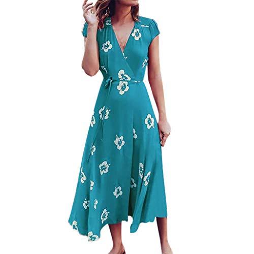 iHPH7 Dress Floral Print Short Sleeve V-Neck Bandage Summer Dress Long Boho Dress Women (M,Blue)