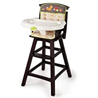 Summer Infant Classic Comfort Wood High Chair, Fox and Friends, Espresso Stai...