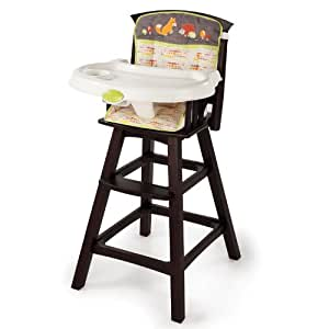 Summer Infant Classic Comfort Wood High Chair, Fox and Friends, Espresso Stain