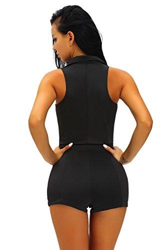 Neuf femmes Noir sans manches pour homme Style Barboteuse Combinaison Catsuit Club Wear Taille UK 10–12–EU 38–40