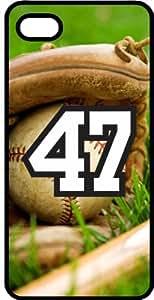 Baseball Sports Fan Player Number 47 Black Plastic Decorative iPhone 4/4s Case