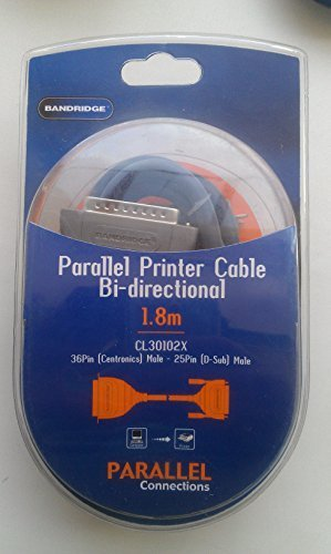 Bandridge parallel printer cable Bi-directional 1.8m 36pin Centronics - Male 25pin Male D-sub