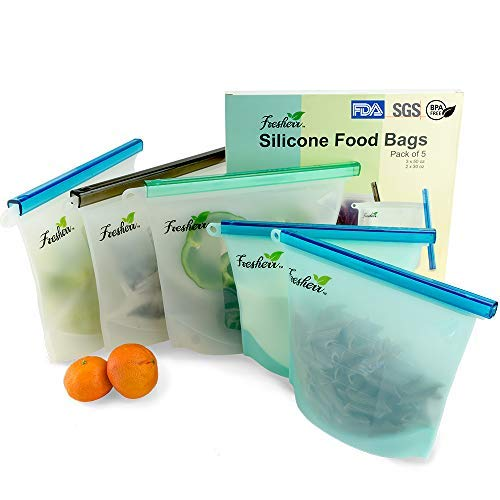 (Reusable Silicone Food Bag by Fresherr - Multi-Purpose Freezer Microwave Dishwasher Safe - Resealable Vegetable Meat Sandwich Fruit Saver - Leak-proof Airtight Liquid Container - Assorted 5 Value Pack)