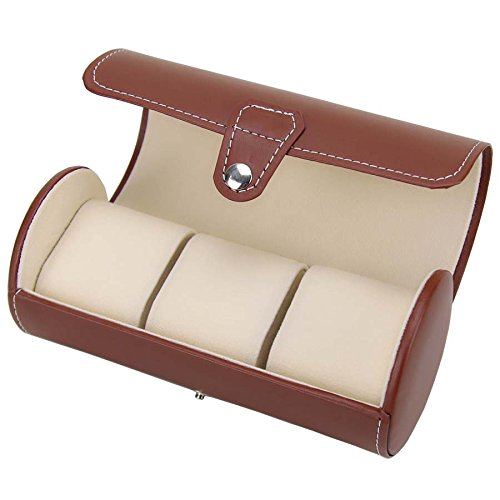 3 Watch Roll Cases Organizer PU Leather Travel Jewelry Storage Case Box Holder Collector Brown (Watch And Roll Case)