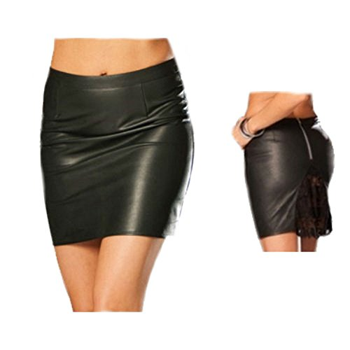 Leather Pencil Skirt with Lace Insert and Back Zipper (Black, S)
