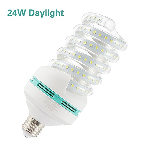 A19 Spiral LED Light Bulb, 200W Equivalent LED Bulb,24W CFL Replacement Light Bulb, Daylight White 6000K, E26 Base, 2500 LM, Not-Dimmable, for Photo Light,Warehouse,Garage Lighting, Barn, Patio, etc.