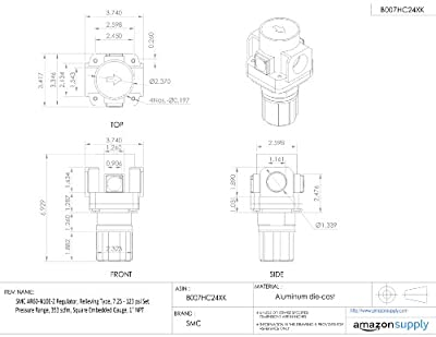 "SMC AR60-N10E-Z Regulator, Relieving Type, 7.25 - 123 psi Set Pressure Range, 353 scfm, Square Embedded Gauge, 1"" NPT"