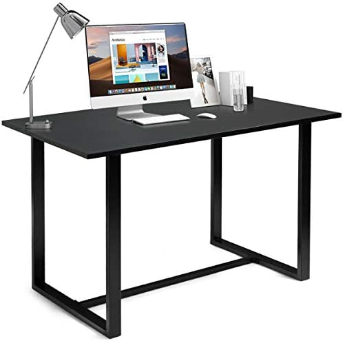 Tangkula Writing Table Computer Desk, Modern Versatile Writing Desk with Bamboo Wood Top, Computer Workstation Study Table Home Office Desk Black