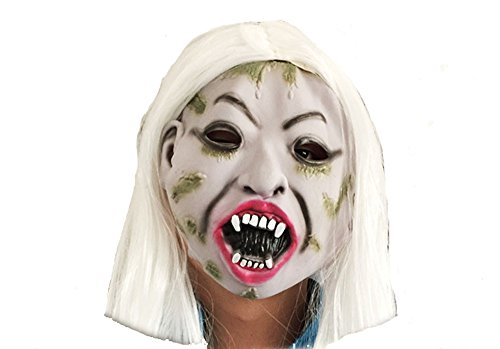NXDA Halloween Masquerade Mask Bloody Face Latex Mask Horror Novelty Zombie mask for Halloween Costume Party Decorations (White)