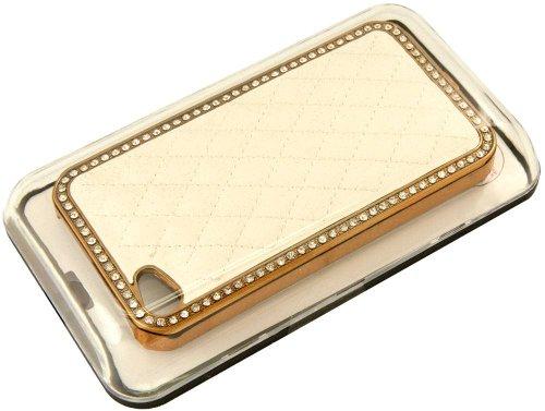 Coque de Protection élégante, Etui Rigide Dorée, incrusté de cristaux pour iPhone 4 4G 4S - Bianco